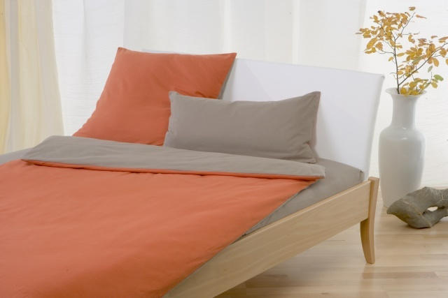Biber Kinderbettwäsche Bio Baumwolle 40x60 100x135 Orangesand